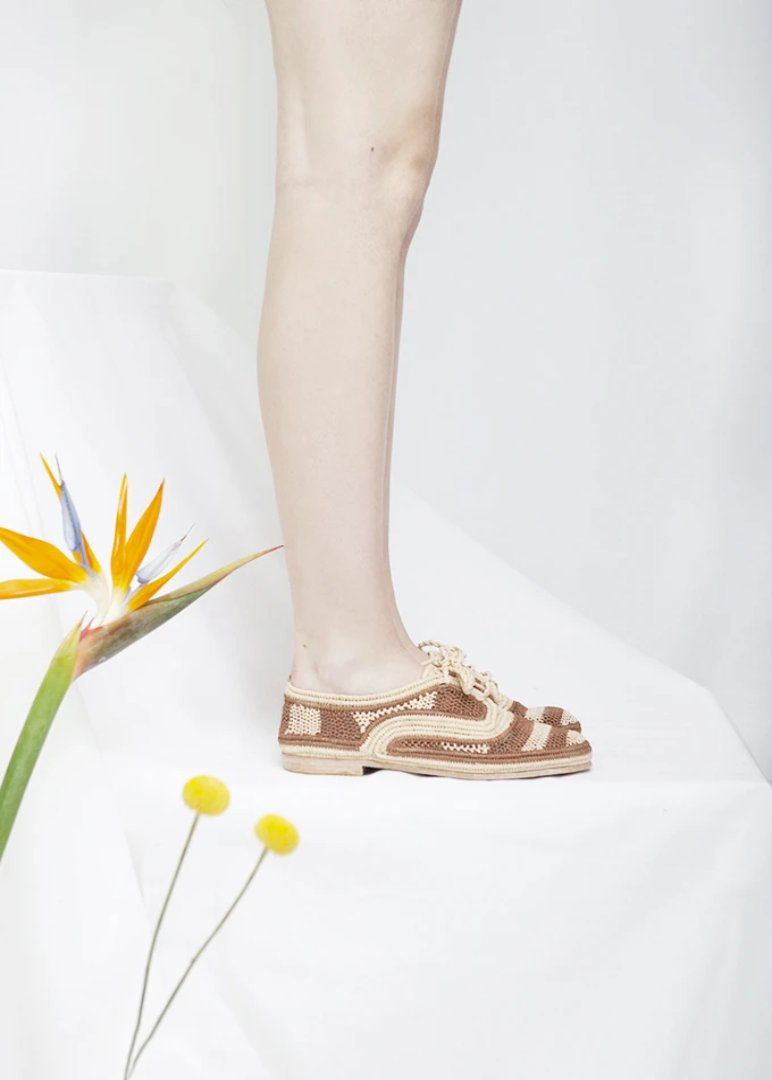 Marrakech Tan Stripe Raffia Lace Up shoes.