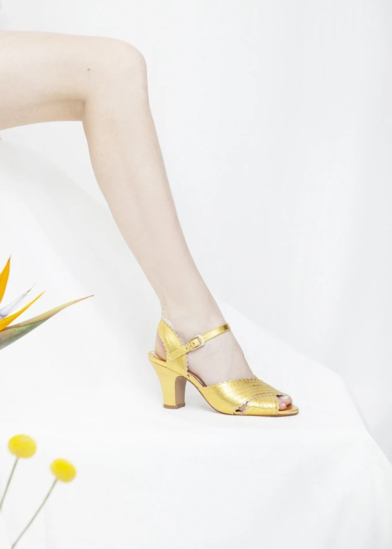 1940s Vintage Inspired gold leather heels by Miss L Fire
