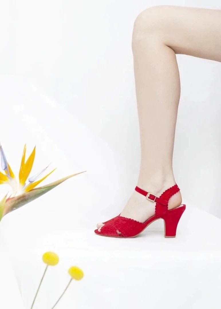 Beatriz red suede sandals with cross over strap by Designer, Miss L Fire
