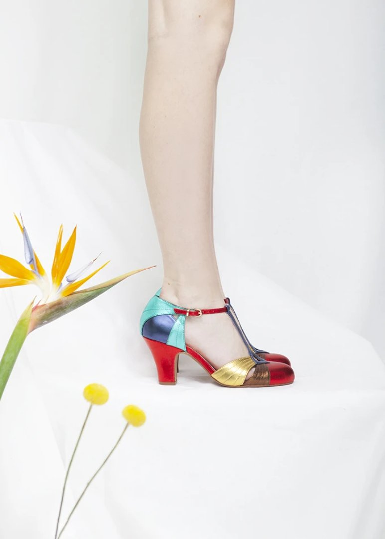 Hepworth Multicolor Metallic T-Bar Heel