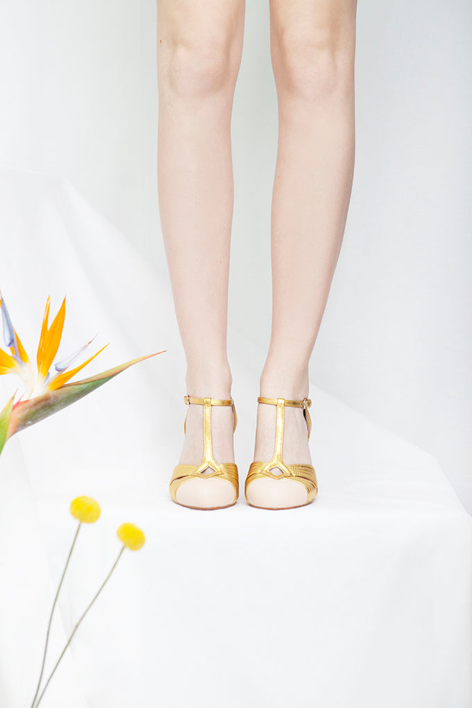 Hepworth vintage inspired t bar shoes in gold and nude leather by Designer Miss L Fire