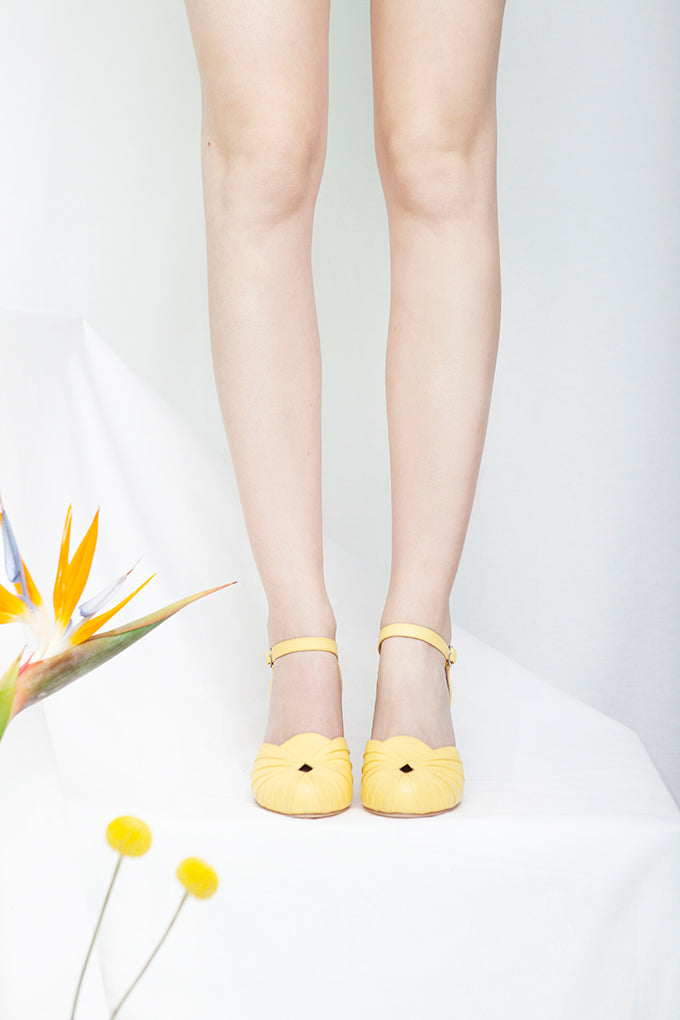 Amber lemon yellow leather two part bar shoe. Vintage Inspired. Perfect Bridesmaid shoe. By Miss L Fire