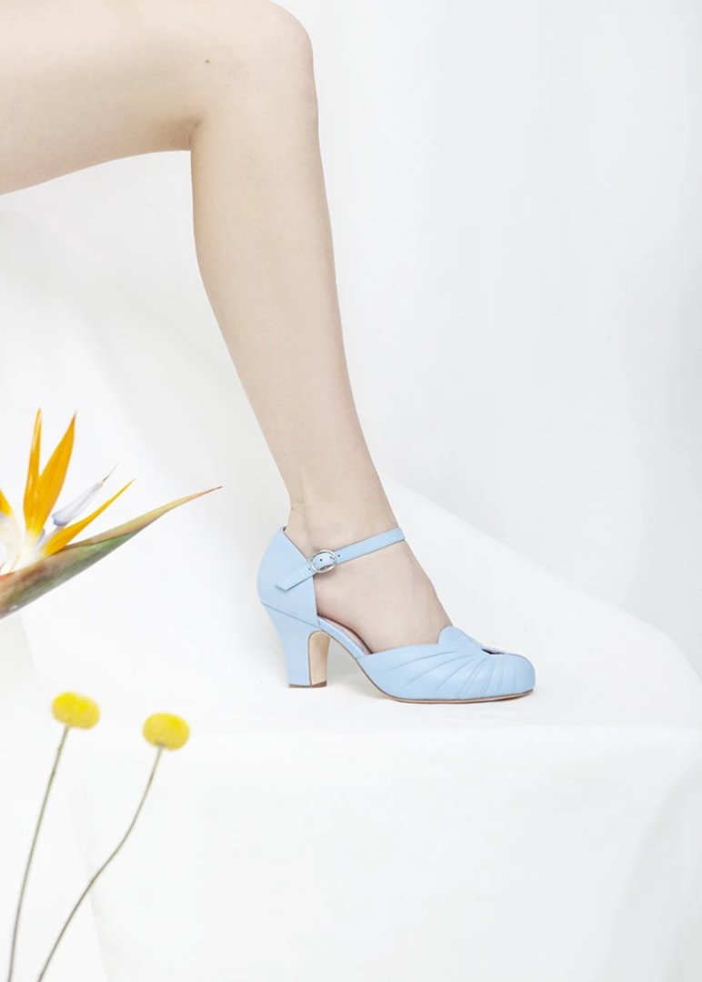 Amber Blue Luxe Ankle Strap Heel