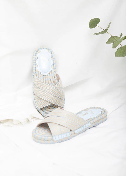Boheme pale blue flat espadrille mule by Designer Miss L Fire. Eco friendly.