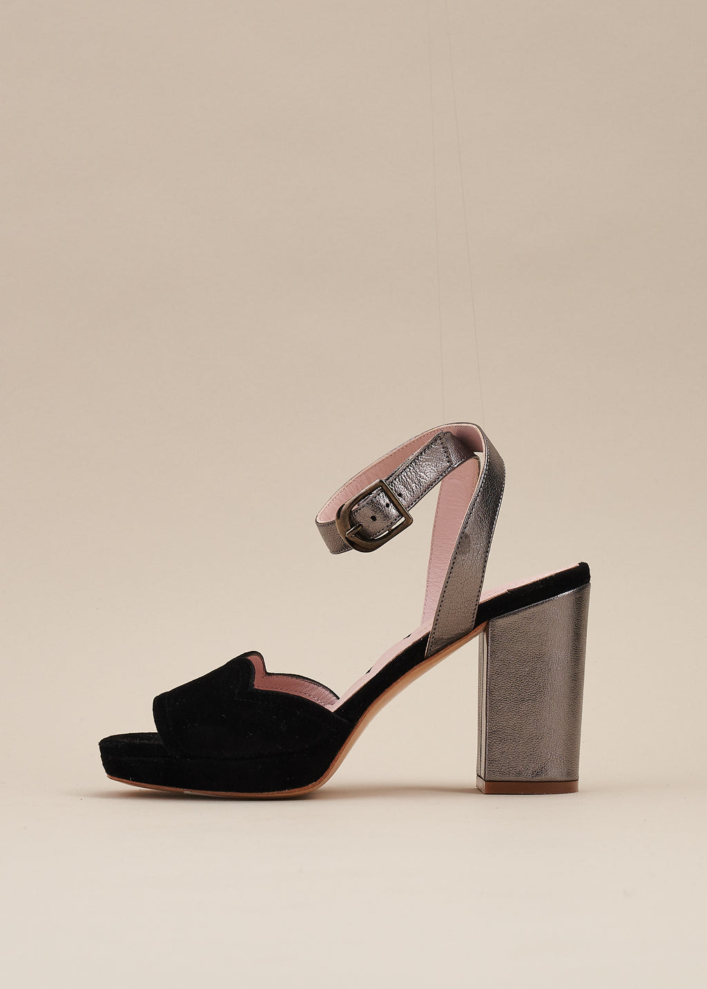 Madeline Black and Pewter Platform Sandal - PRE ORDER
