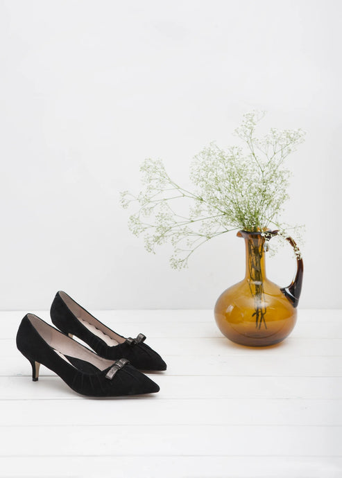 e0406456f068 Marilyn black suede vintage inspired pointy toe kitten heel pump with bow  detail by Miss L