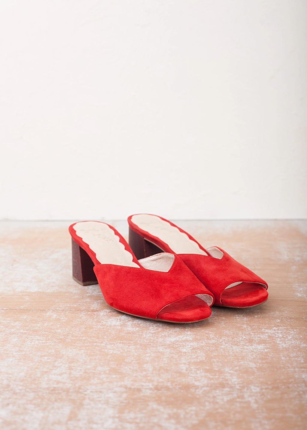 Mia Red Mule with Wood Block Heel