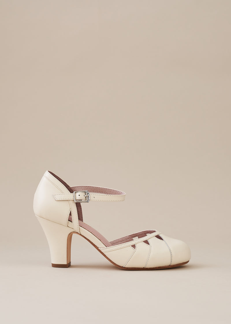 Lucie White Leather Two Part Panelled Bar Shoe