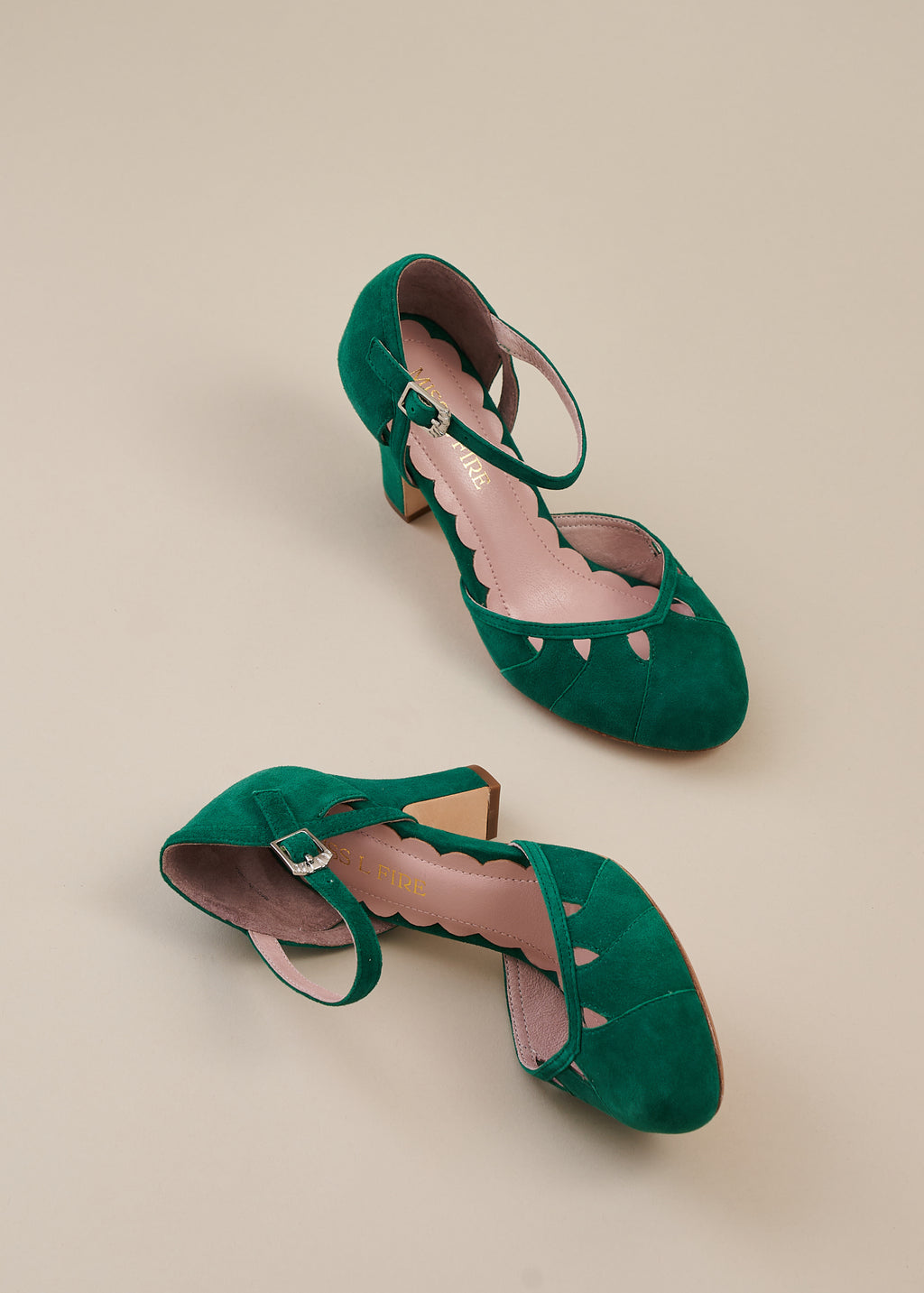 Lucie Kelly Green Suede Two Part Panelled Bar Shoe