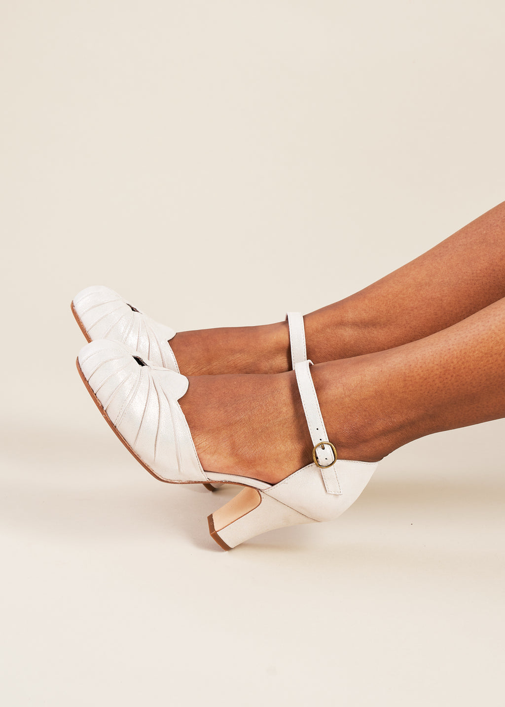 Amber Champagne Sparkle Luxe Ankle Strap Heel
