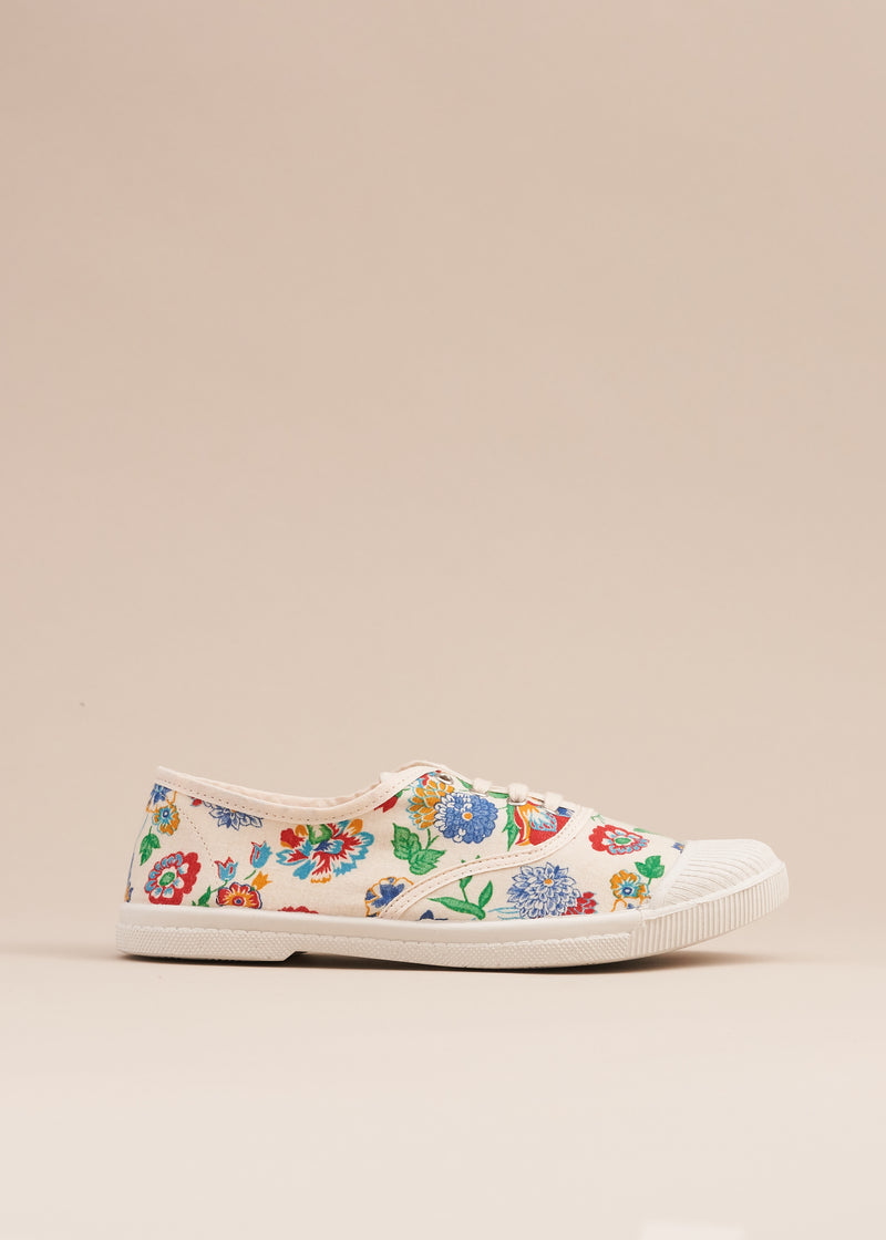 Adeline 1950's White Floral Print Vintage Fabric Sneaker