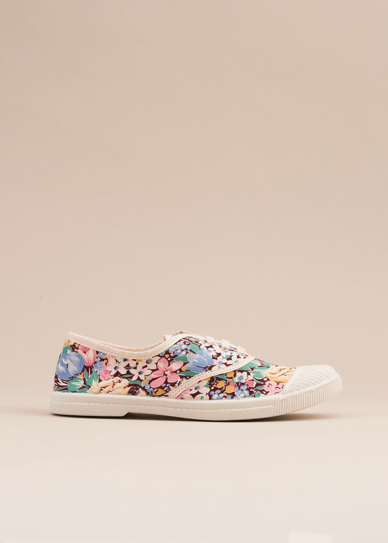 Adeline 1970's Chocolate Floral Print Vintage Fabric Sneaker