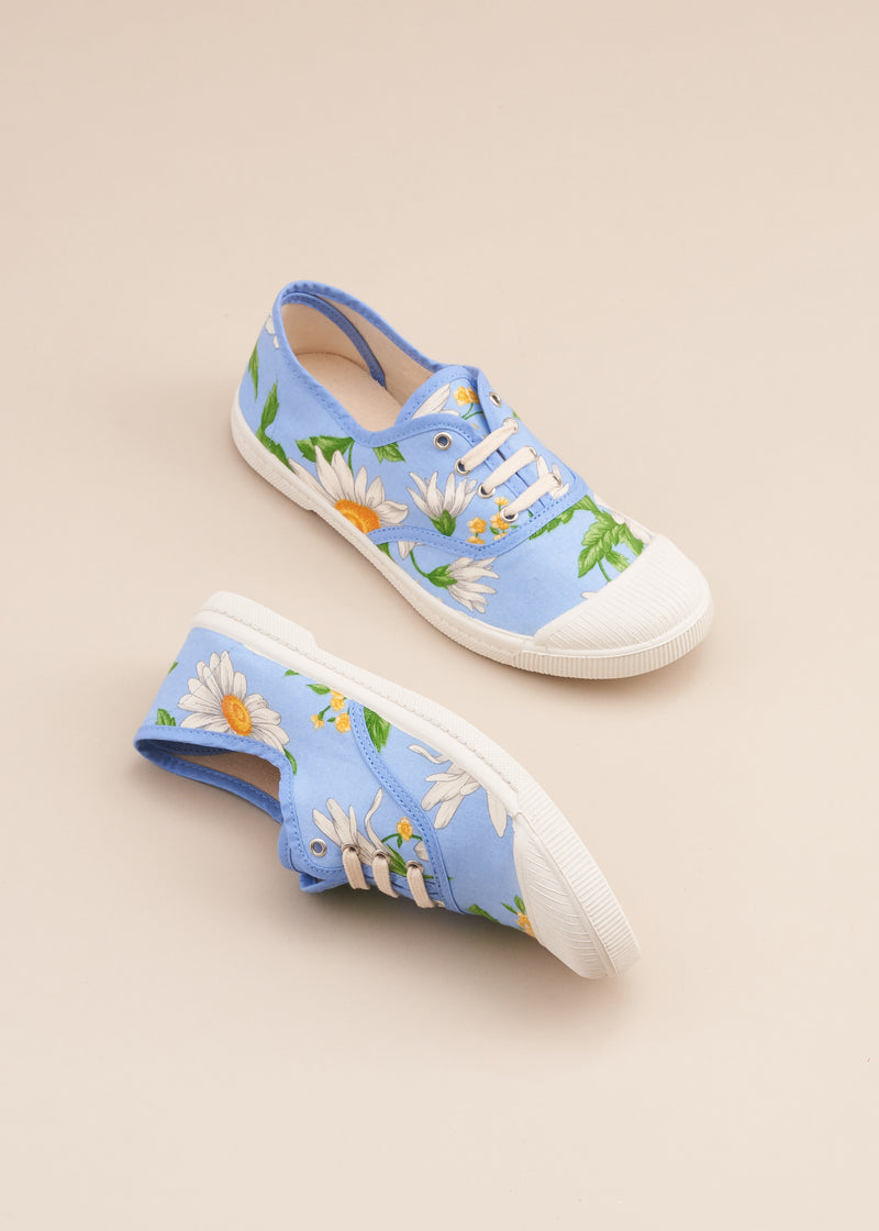 Adeline 1980's Blue Daisy print Vintage Fabric Sneaker