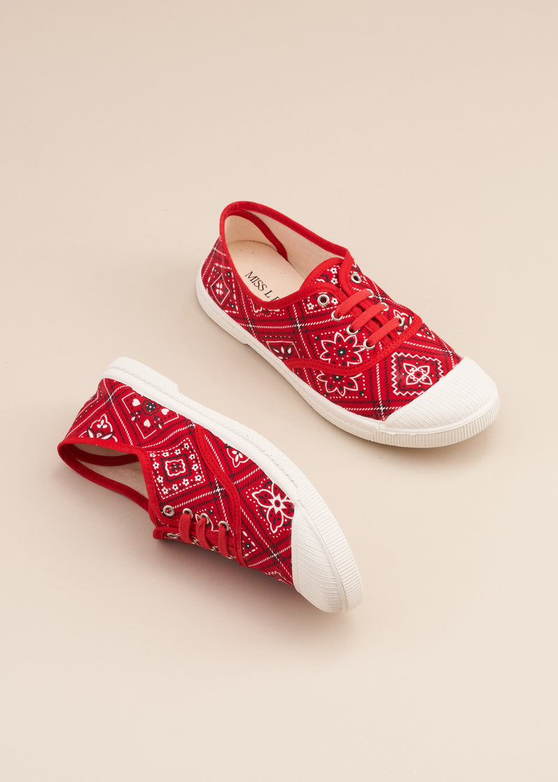 Adeline lo fi lace up sneaker in 1960's vintage red bandana print cotton fabric. Vulcanised outsole. Limited edition. By Miss L Fire.  Made in Spain.