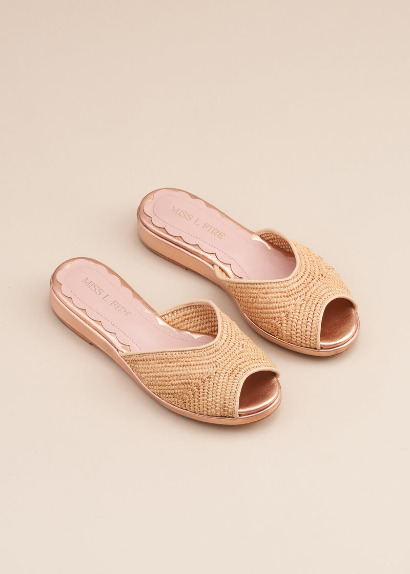 Reiki Natural Raffia and Rose Gold Wedge Slide