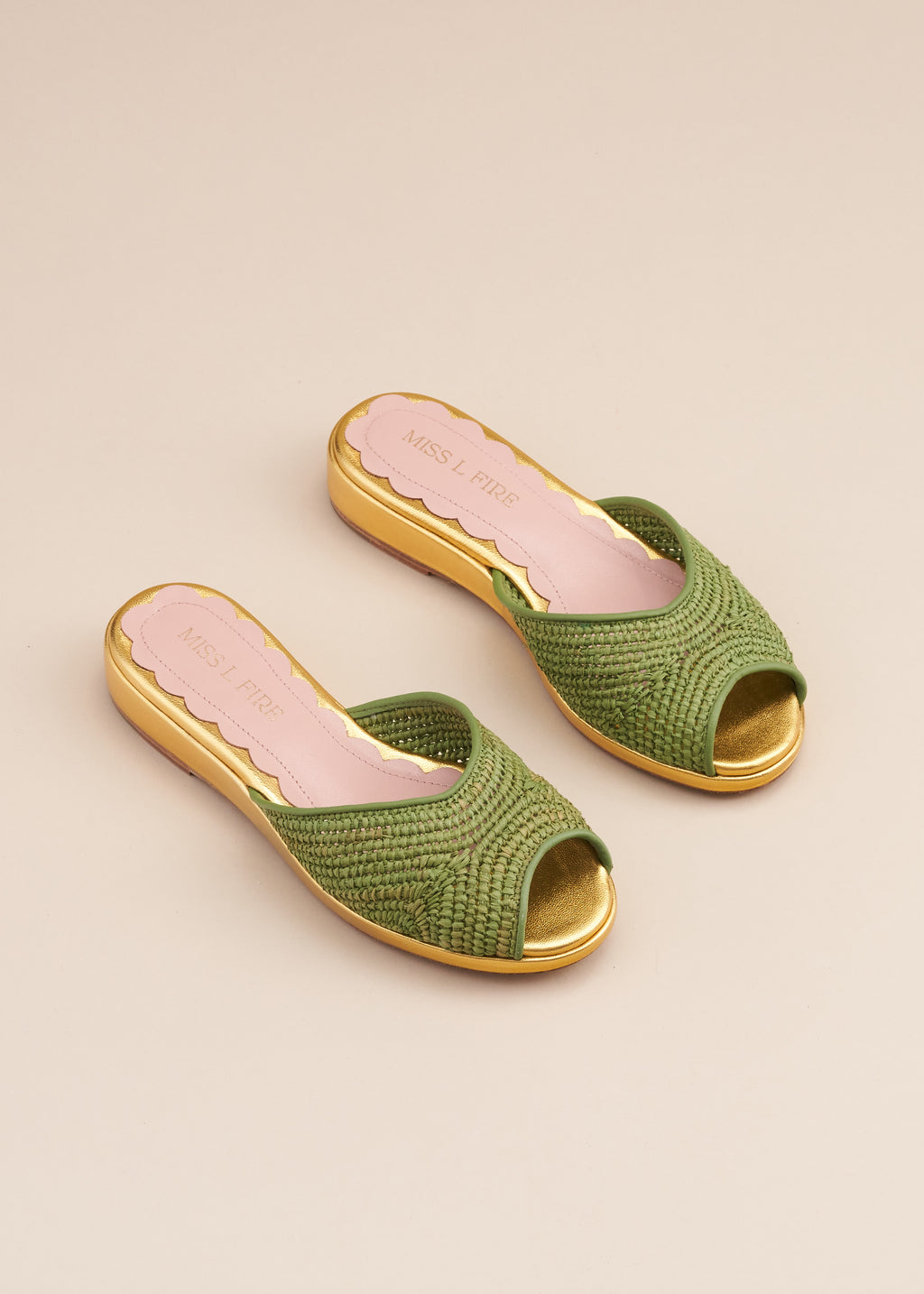 Reiki Apple Green Raffia and Gold Wedge Slide