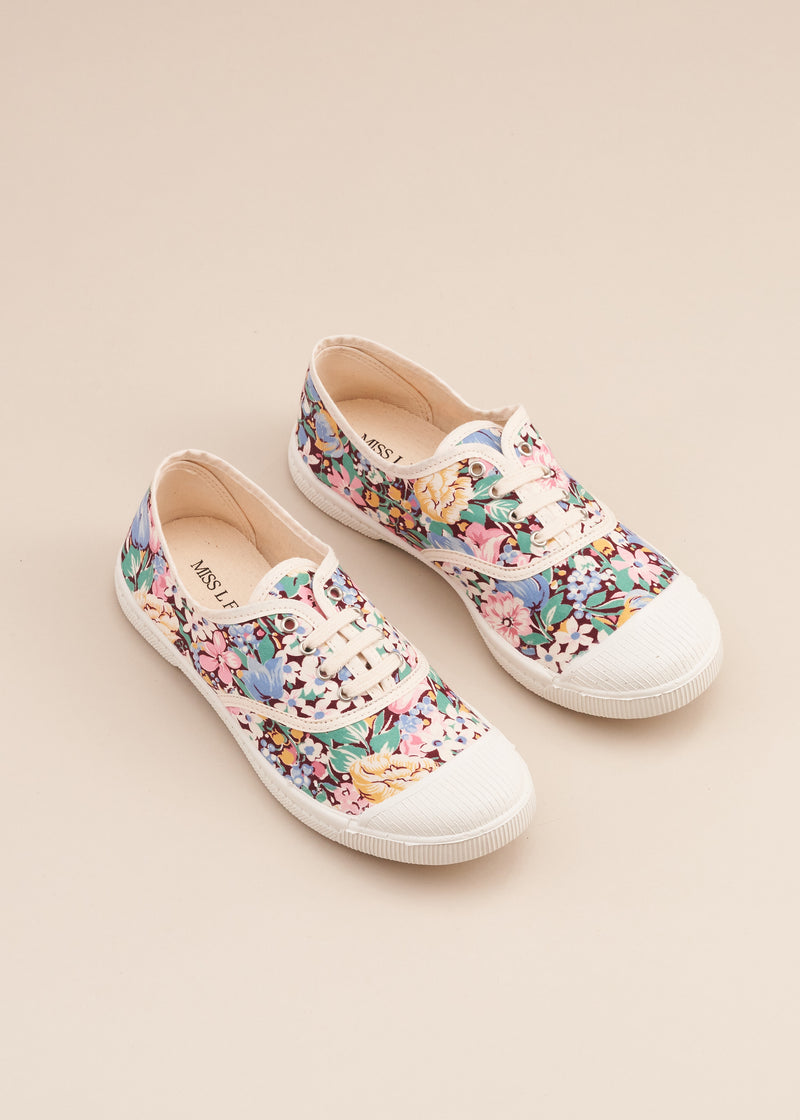 Adeline lo fi lace up sneaker in 1970's multi colour floral print cotton fabric. Vulcanised outsole. Limited edition. By Miss L Fire.  Made in Spain.