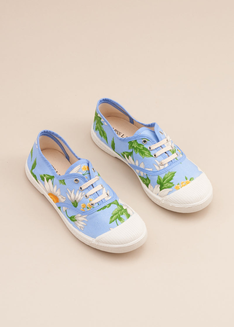 Adeline lo fi lace up sneaker in 1980's vintage baby blue daisy print cotton fabric. Vulcanised outsole. Limited edition. By Miss L Fire.  Made in Spain.