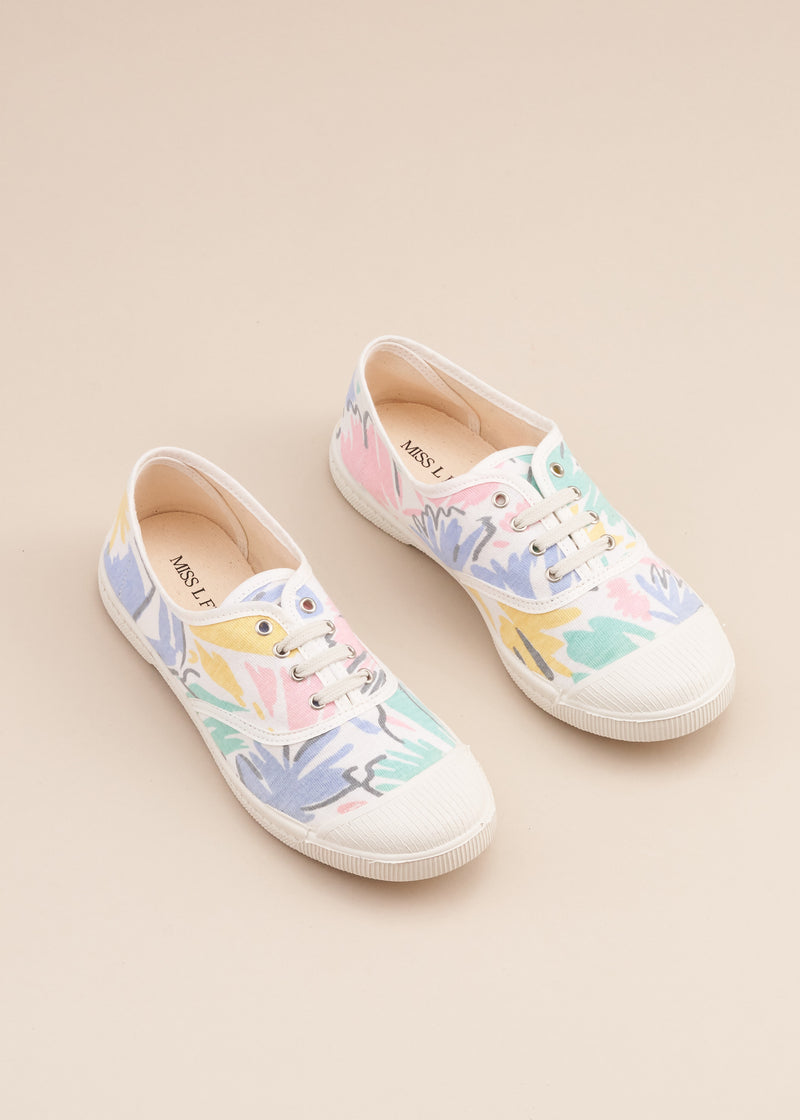 Adeline lo fi lace up sneaker in 1980's vintage Stranger Things style pastel splash print jersey cotton fabric.  Vulcanised outsole. Limited edition. By Miss L Fire.  Made in Spain.
