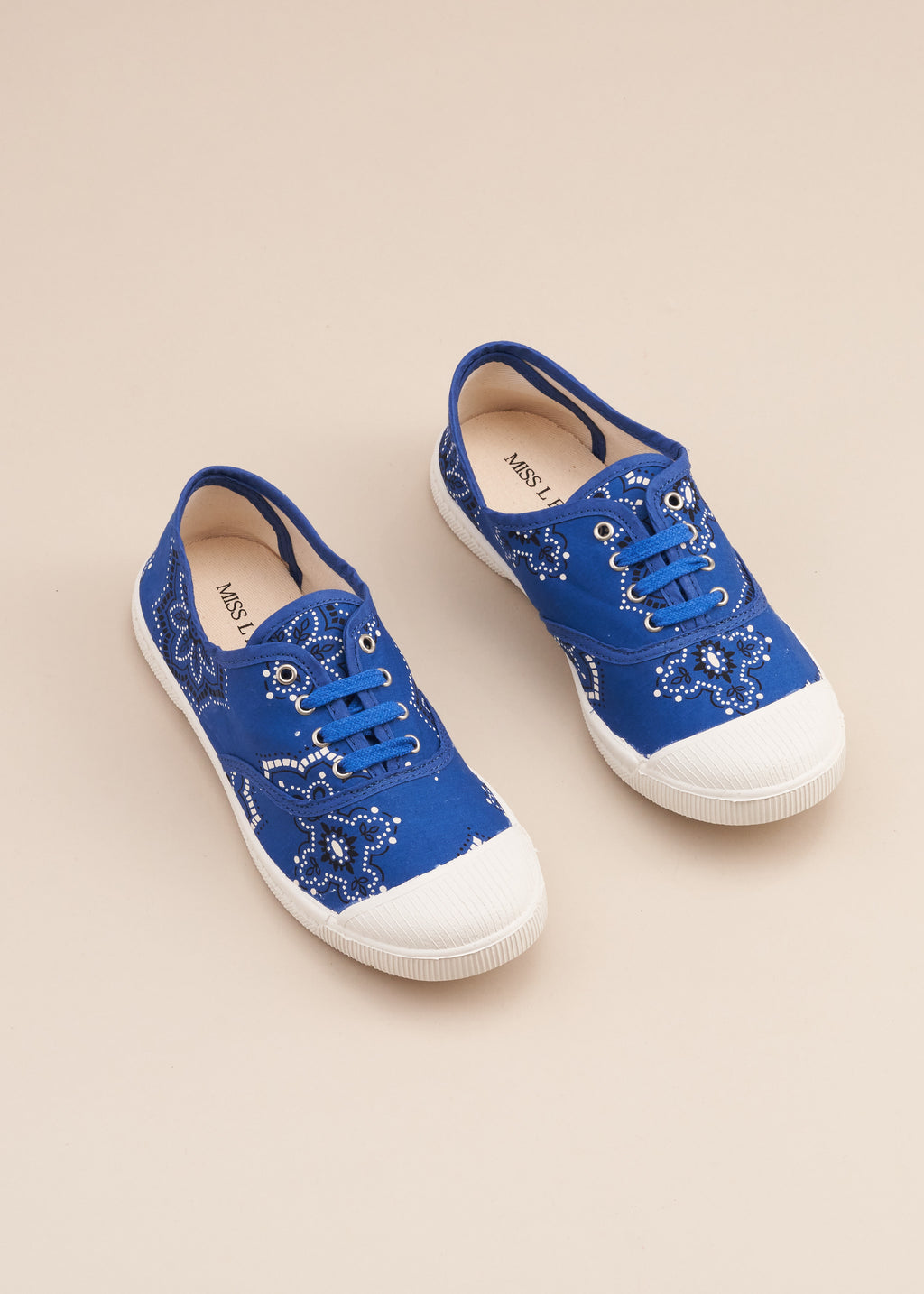 Adeline lo fi lace up sneaker in 1960's vintage blue bandana print cotton fabric. Vulcanised outsole. Limited edition. Made in Spain.