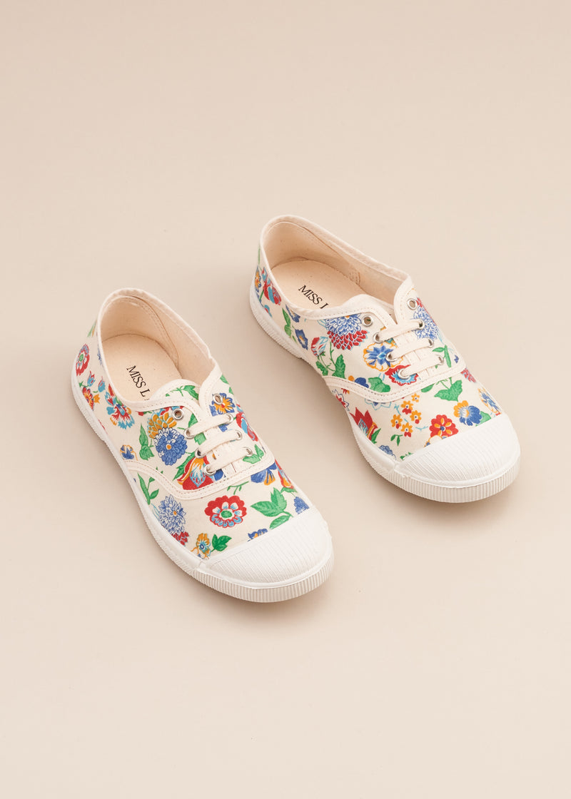 Lo-fi lace up sneaker in 1950's true vintage floral print cotton fabric, by designer Miss L Fire. Vulcanised outsole. Limited edition. Made In Spain.