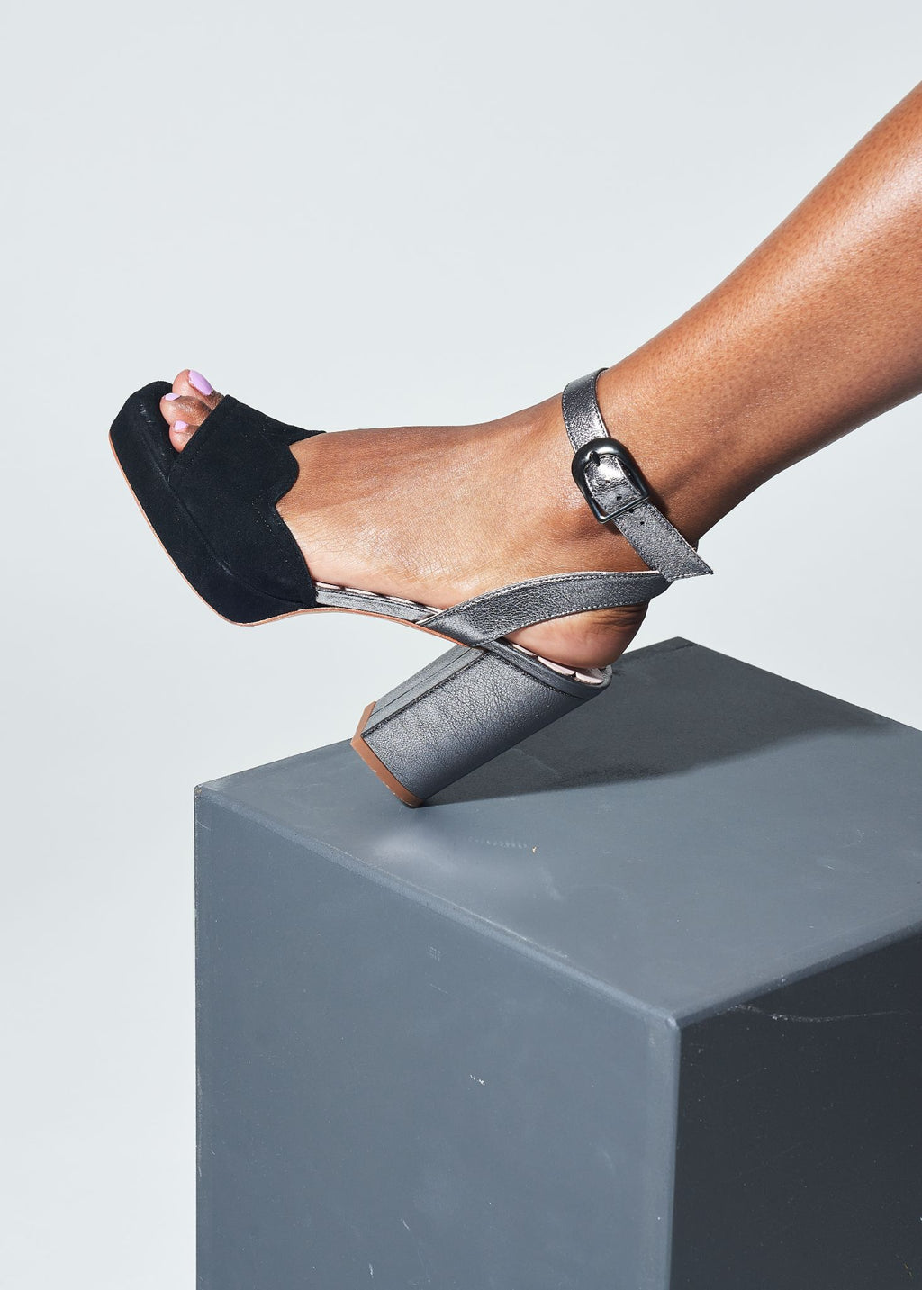Madeline Black and Pewter Platform Sandal