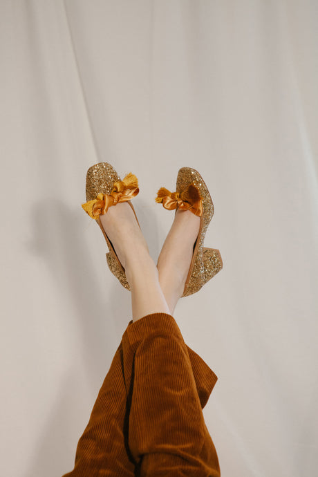 Sabrina bronze glitter court shoe with hassle trim and block heel . Vegetarian shoes. By Miss L Fire