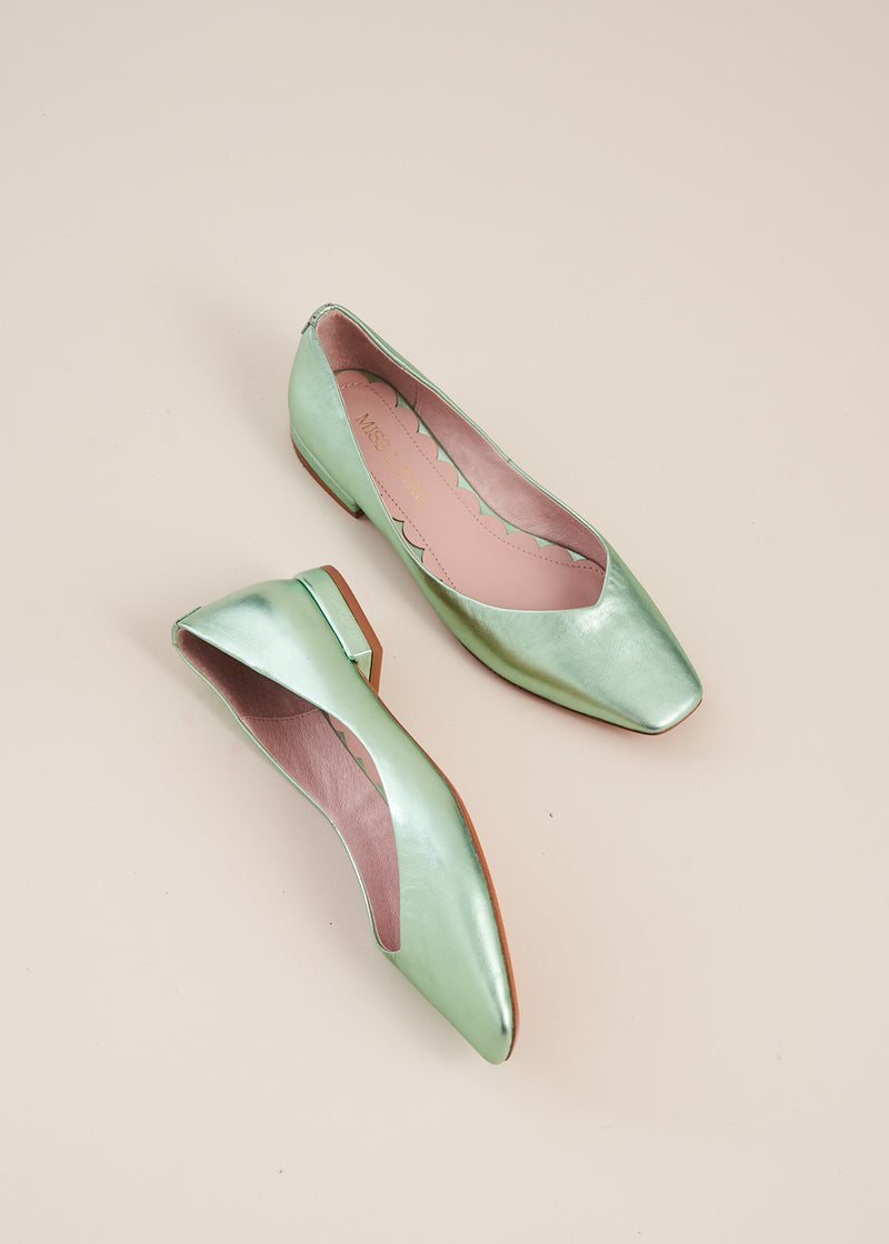 Polly mint metallic square toe ballet flat, by Miss L Fire. The perfect ballet flat for every day, weddings , bridesmaids. Your go to flat for the summer.