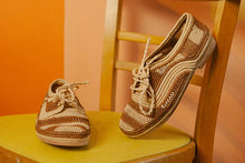 Marrakech Tan Stripes Raffia Lace Up
