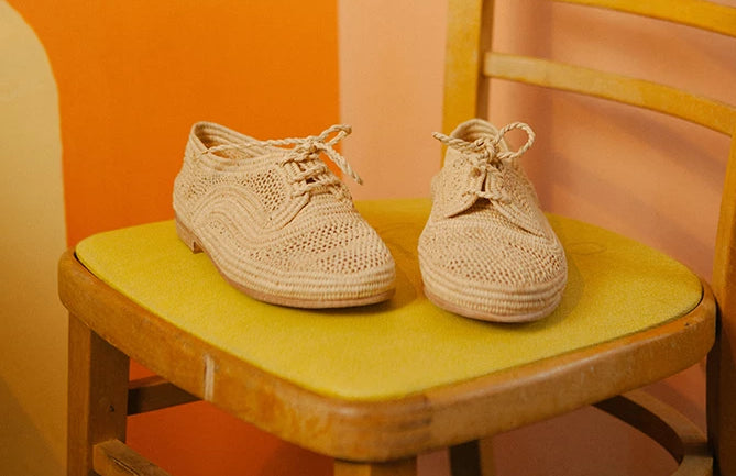 Marrakech Natural Raffia Lace Up