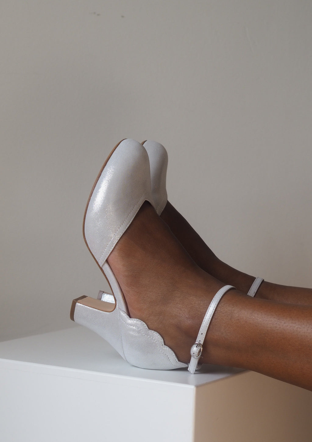 Layla Silver Ankle Strap Heel - LAST PAIRS