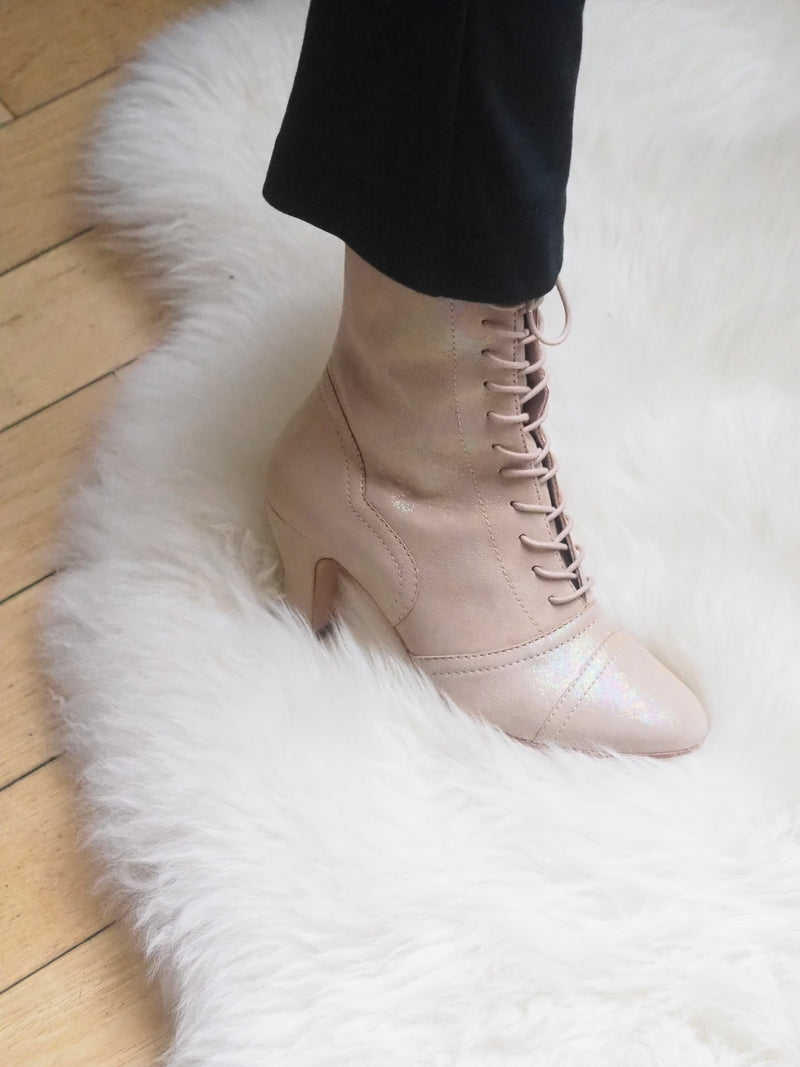 Frida Luxe Mother of Pearl Lace up Boots