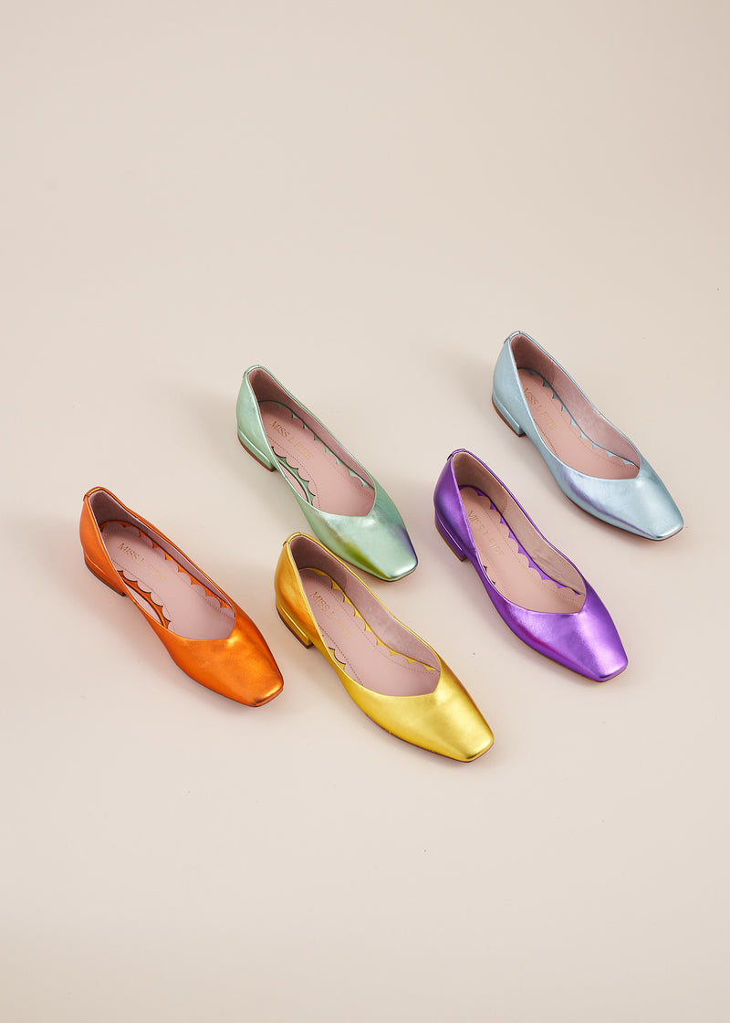 Polly  Square Toe Ballet Flat, by Miss L Fire, available in a rainbow of beautiful metallic leather colours. The perfect ballet flat for every day, weddings , bridesmaids. Your go to flat for the summer.