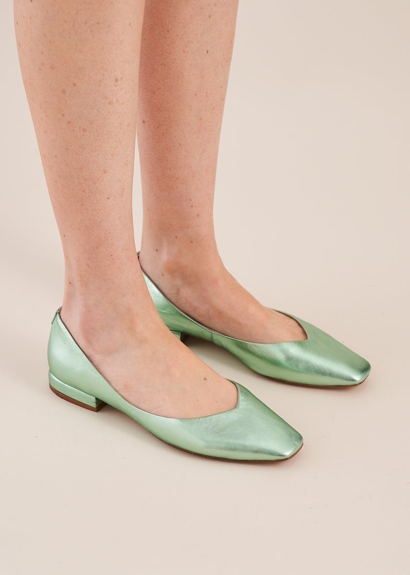 Polly Mint Metallic Square Toe Ballet Flat