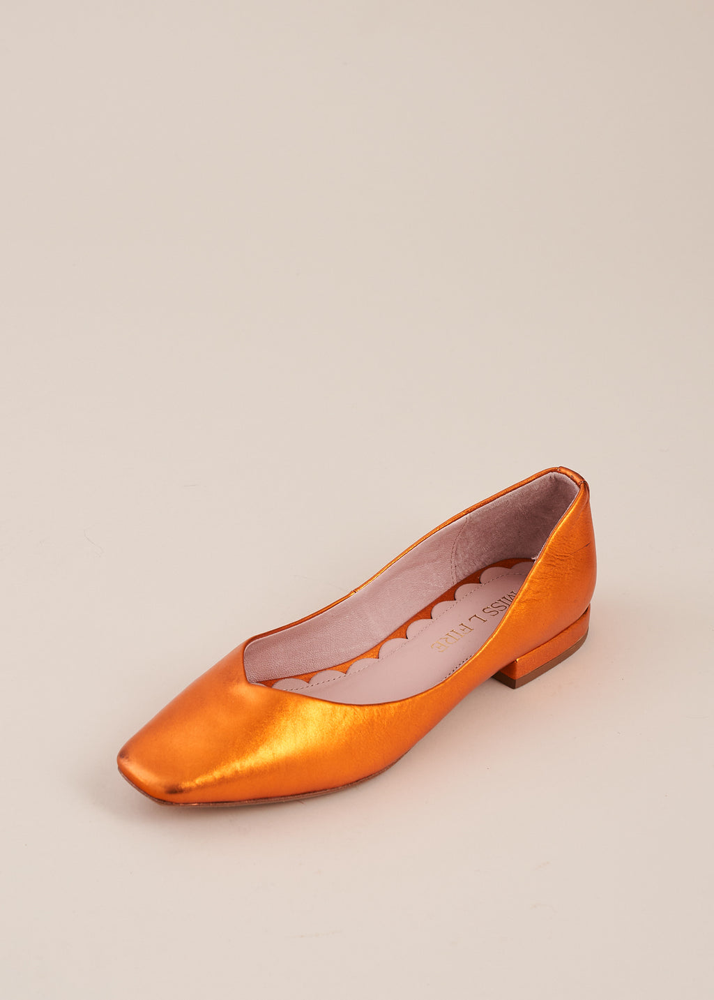 Polly orange metallic square toe ballet flat, by Miss L Fire. The perfect ballet flat for every day, weddings , bridesmaids. Your go to flat for the summer.