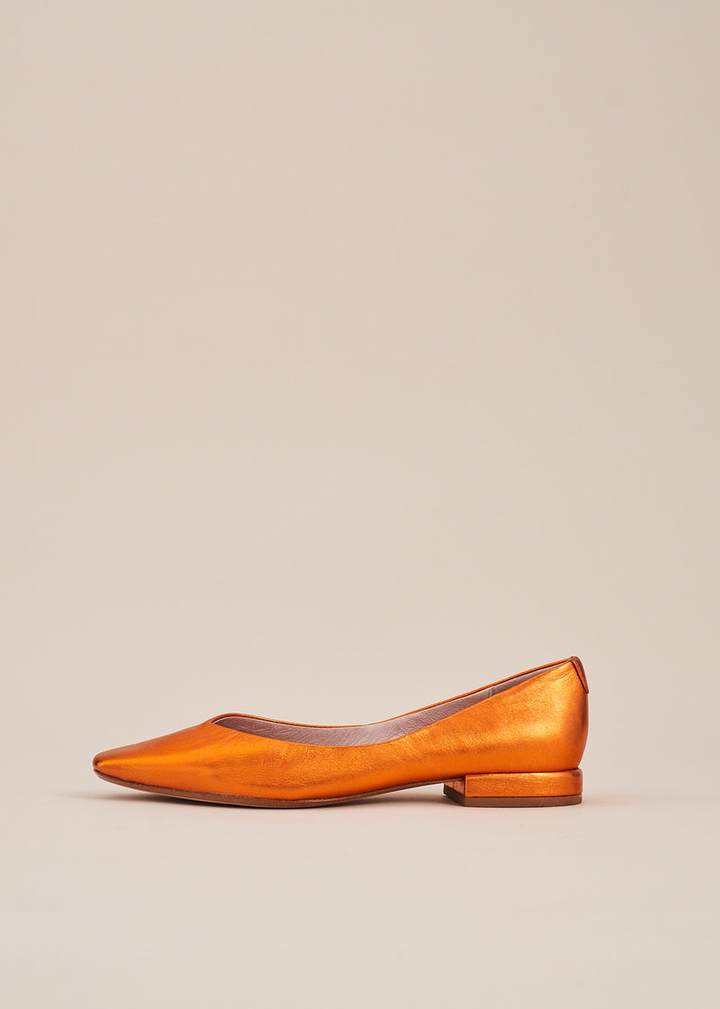 Polly Orange Metallic Square Toe Ballet Flat