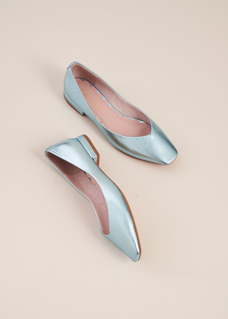 Polly sky blue metallic square toe ballet flat, by Miss L Fire. The perfect ballet flat for every day, weddings , bridesmaids. Your go to flat for the summer.