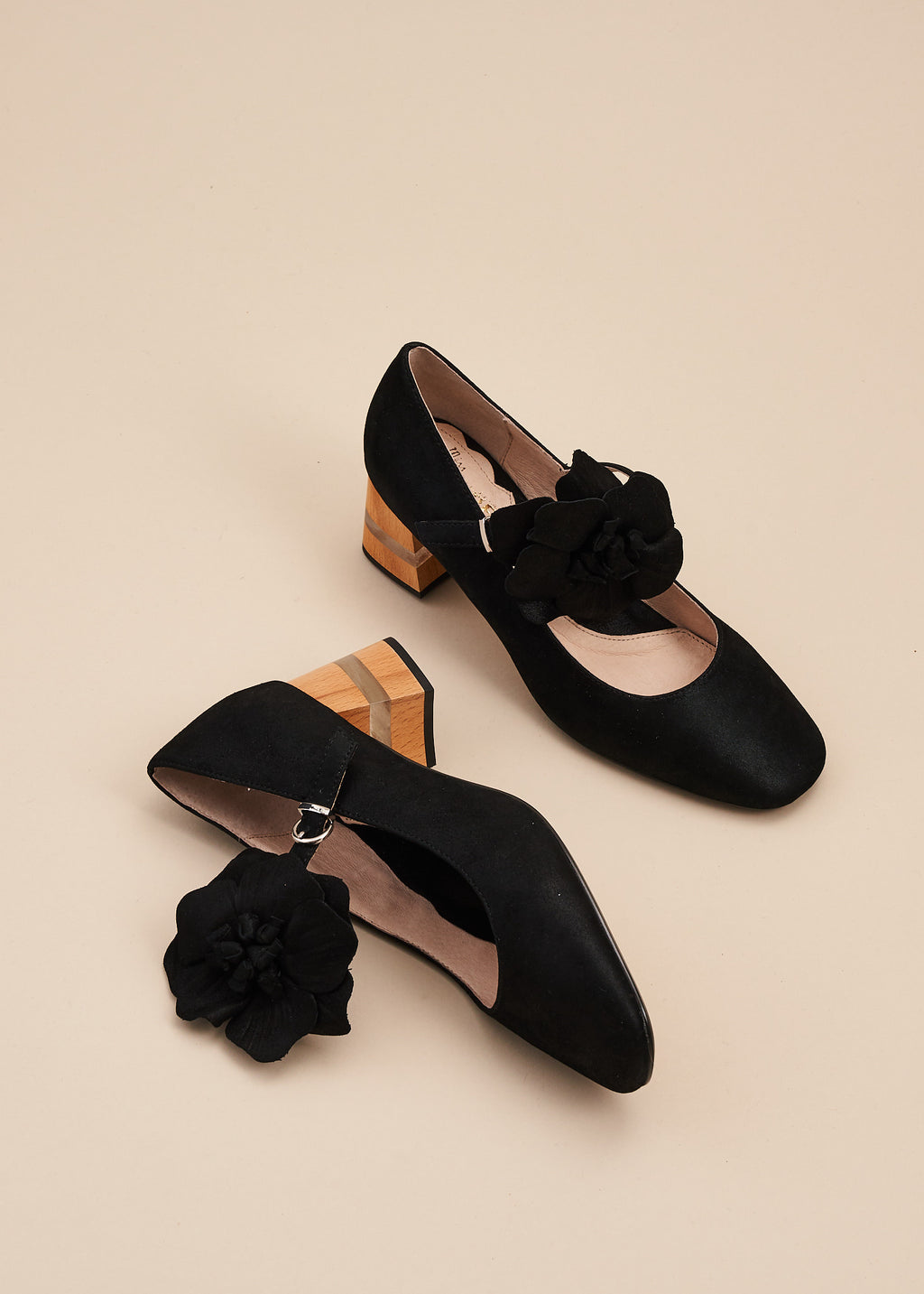 Pamela in black soft leather by Miss L Fire is a soft square toe Mary Jane with a detachable leather flower trim , with 6cm wood and plexiglass heel.