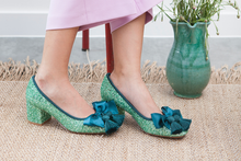 Sabrina Sage Green Glitter Pumps