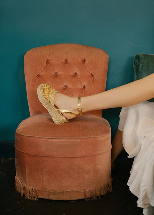 Toulouse gold metallic low wedge espadrille sandal. Vegetarian style. By Miss L Fire