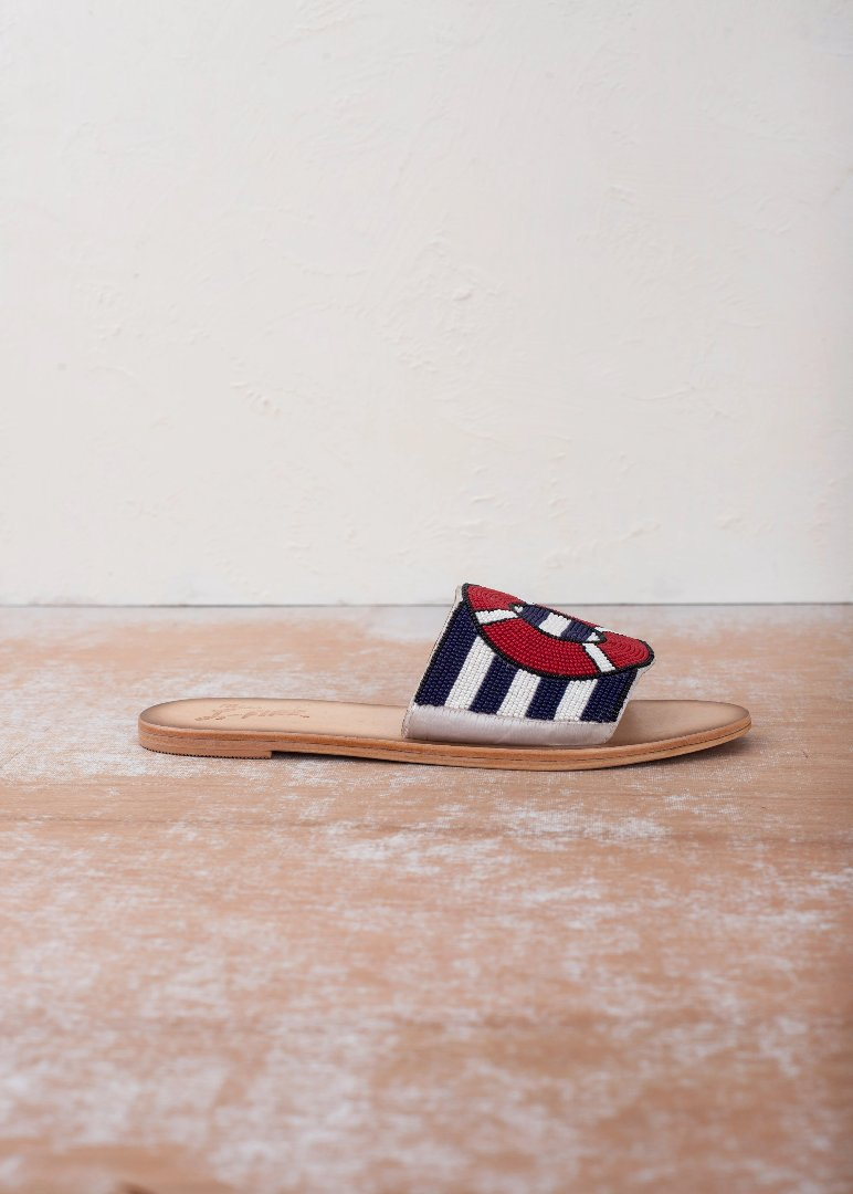 All Aboard Navy Flat Slide Sandal
