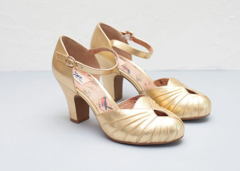 Gold leather Amber two part vintage inspired bar shoes by Miss L Fire