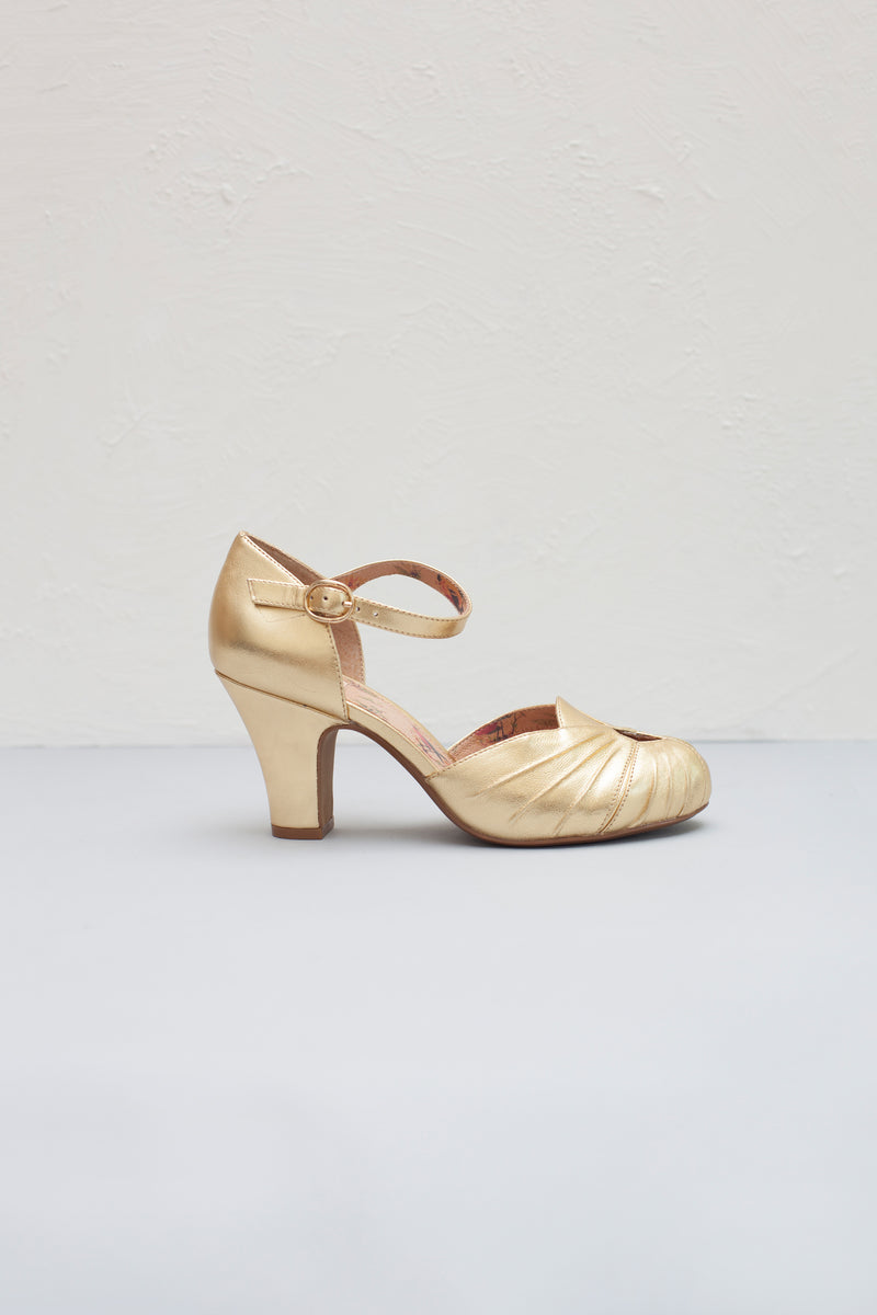 Amber Gold Luxe Ankle Strap Heel
