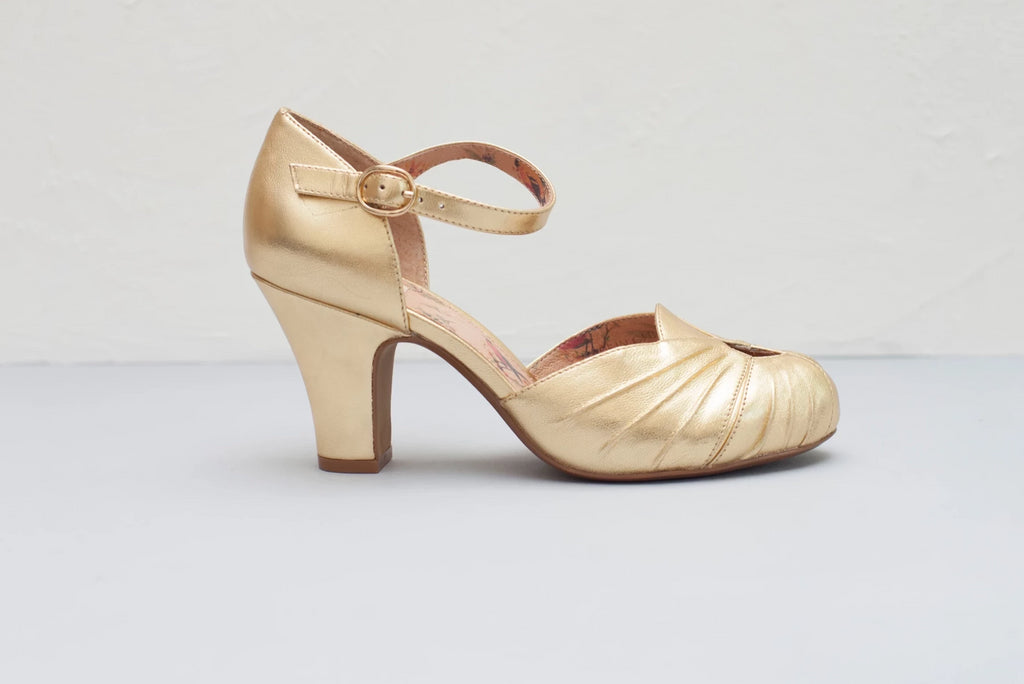 Amber Gold Ankle Strap Heel