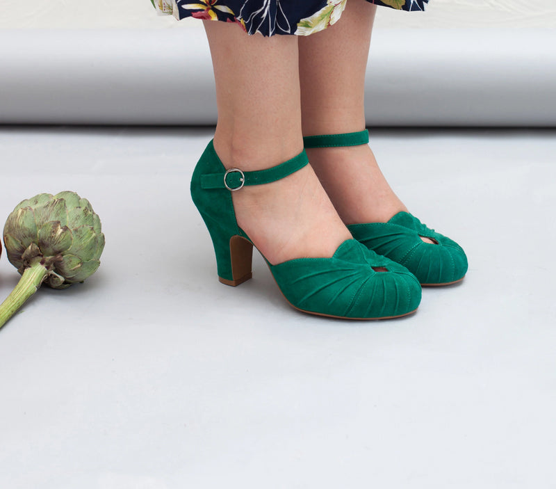 Amber green suede shoes . Vintage inspired. By Miss L Fire