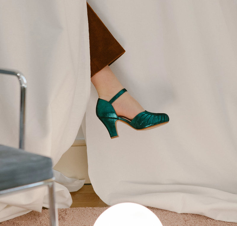 Amber Green Sparkle Ankle Strap Heel