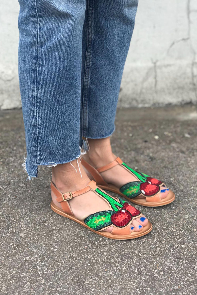Cherry detail flat leather sandals by Miss L Fire