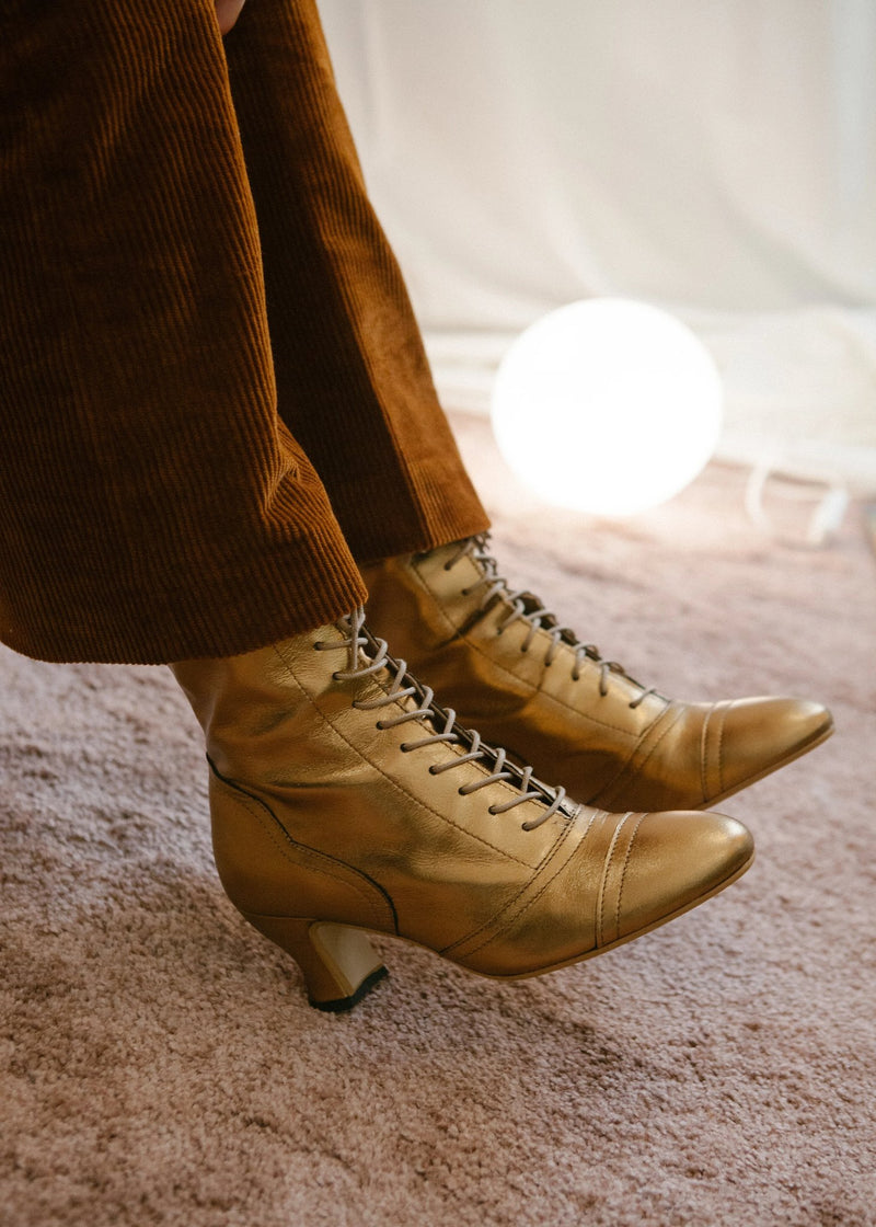 Beautiful bronze leather lace up boots with curved Louis heel by Miss L Fire