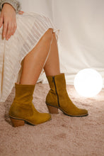 Jane mustard suede burnished ankle boots with a subtle hint of glitter.  Amazing high quality, versatile boots by Miss L Fire.
