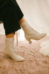 Frida off white leather ankle boots by Miss L Fire. Perfect winter wedding boots. Victorian style boots.